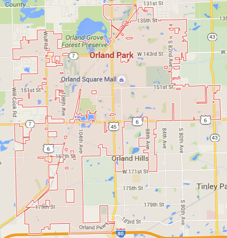 map of orland park lawn fertilization area